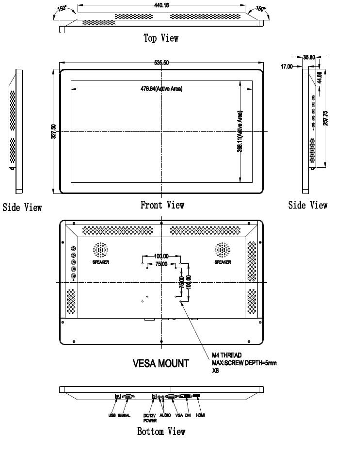 22型以上 キャビネット タッチパネルモニター ワイド 組込 超音波表面弾性波方式