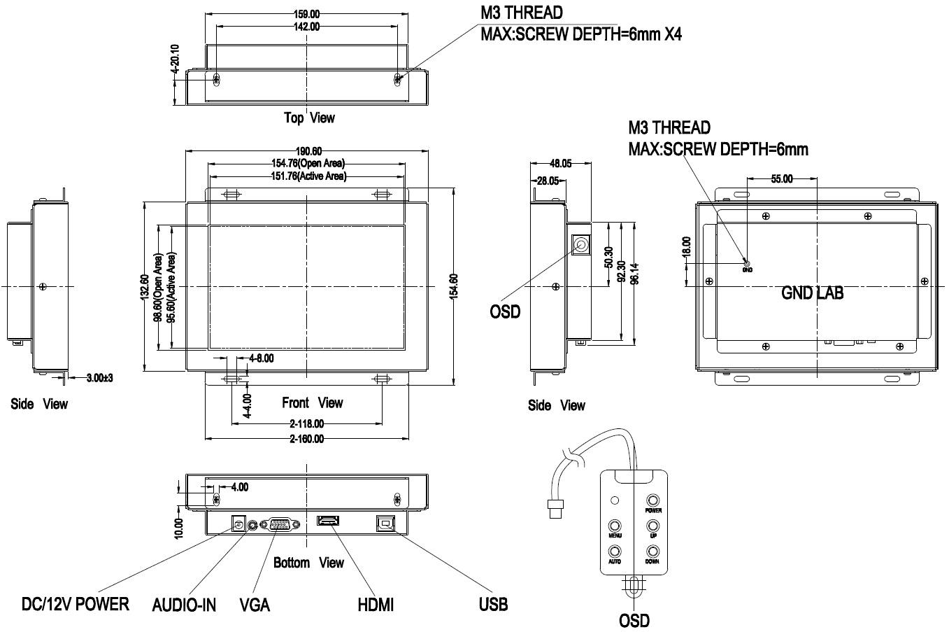 【7型】投影型静電容量方式TM「OTL073」