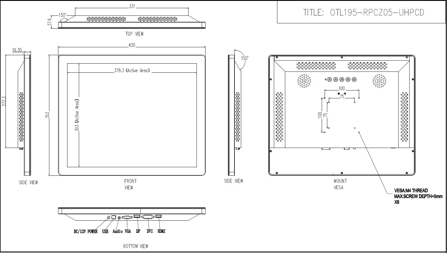 19型 キャビネット タッチパネルモニター 投影型静電容量方式 組込