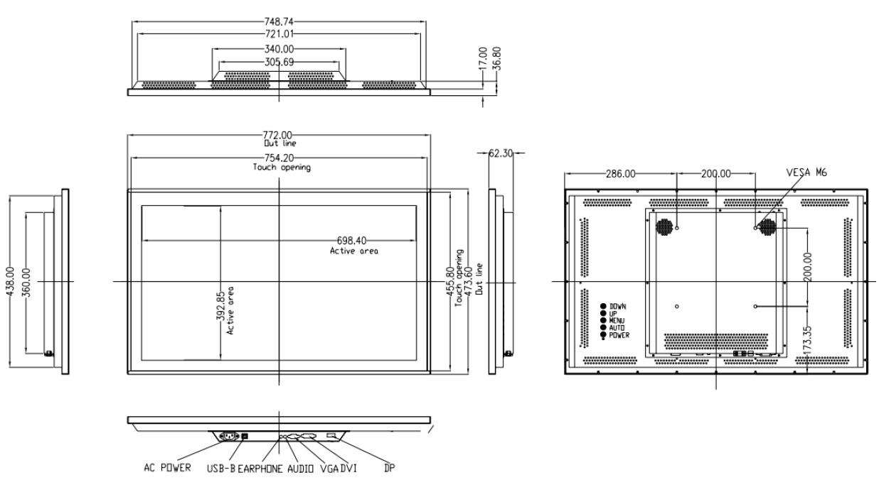 22型以上 タッチパネルモニター 投影型赤外線方式 組込