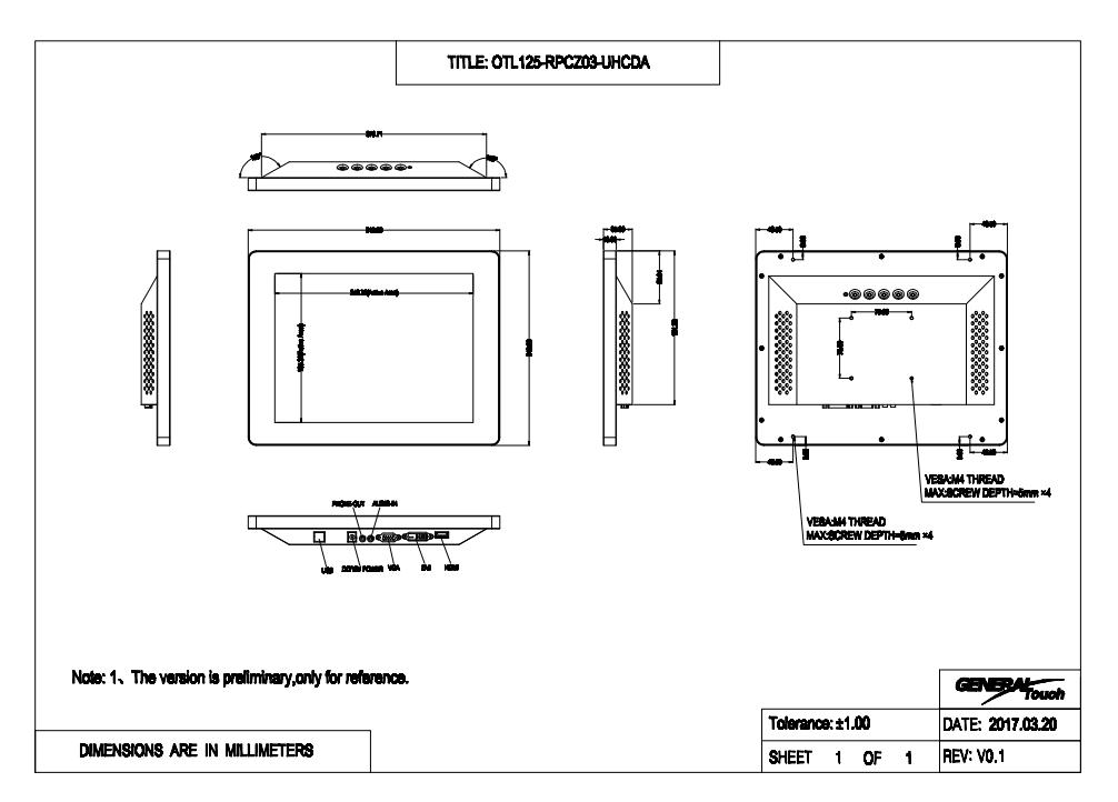 12型以下 キャビネット タッチパネルモニター 投影型静電容量方式 組込